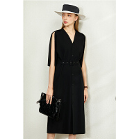【券后预估价:166元】Amii极简法式复古连衣裙2020夏季新款宽松V领收腰A字裙中长款裙子