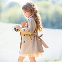 童装儿童英伦双排扣中长款上衣女童风衣外套