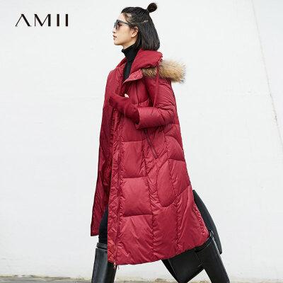 【大牌清仓 5折起】Amii[极简主义]保暖貉子大毛领90绒羽绒服2017冬新拼接针织外套