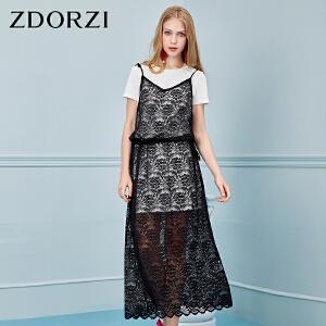 ZDORZI卓多姿夏季显瘦蕾丝两件套连衣裙女734140