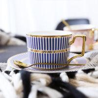 英式金边陶瓷咖啡杯欧式咖啡杯碟套装家用简约下午茶花茶茶杯带勺