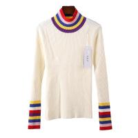 2017秋冬季新款韩版女装半高领套头条纹拼色长袖打底针织衫毛衣厚款 均码