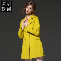 冬季女装纯色上装羊毛呢子外套女西装翻领开叉欧美毛呢大衣女 芥末黄
