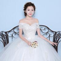 一字肩婚纱礼服新款冬季韩式双肩新娘结婚齐地修身一字领女02