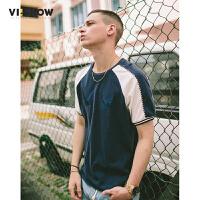 VIISHOW夏装新品休闲短袖T恤圆领套头撞色刺绣男士短t上衣