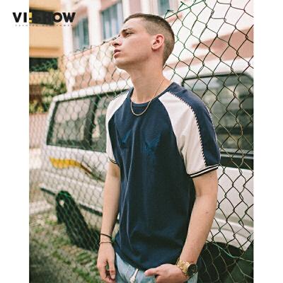 VIISHOW2017夏装新品休闲短袖T恤圆领套头撞色刺绣男士短t上衣满199减20 满299减30 满499减60 全场包邮