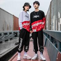 卫衣套装男士韩版潮流ins帅气圆领上衣服青少年学生运动两件套装