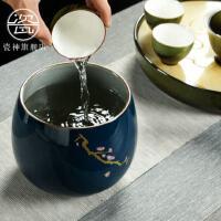 瓷神�V�{功夫茶具茶�P茶道配件�P洗陶瓷大小茶渣缸茶洗水杯洗水盂