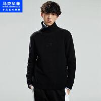 马克华菲中高领毛衣男2020冬季新款粗针加厚韩版潮流黑色打底衫