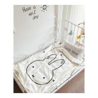 夏季婴儿全棉蚕丝夏被 儿童夏凉被 空调被桑蚕丝单人被子160*210 白色 米菲兔