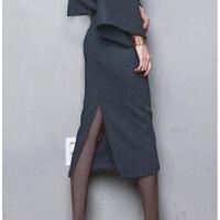 冬季包臀裙长裙半身裙毛呢子高腰开叉中长款一步裙大码秋冬中裙子 灰色 下半裙