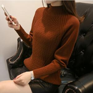 2018半高领宽松毛衣女装冬季短款针织内搭新款潮流韩版打底毛衣女
