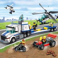 启蒙积木警察系列总局警车6-10-12岁男孩礼物儿童益智拼装玩具