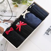 日系纯棉黑色性感蕾丝内裤女士中低腰全棉质面料蝴蝶结三角礼盒装