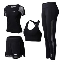 黑色网纱瑜伽服套装四件套运动跑步健身服女显瘦速干网纱运动套装 黑色四件套