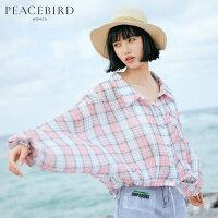 太平鸟格子衬衫女2019夏装新款韩版宽松设计感小众长袖衬衣薄外套