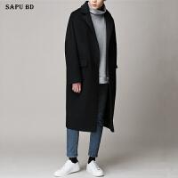 新款冬季羊绒大衣男中长款青年韩版帅气宽松呢子风衣男士毛呢大衣 黑色 小码(加棉)