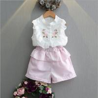 女童套装夏季新款中小童甜美碎花刺绣雪纺无袖T恤+短裤两件套