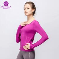 秋冬新款瑜伽服锦纶弹力运动健身镂空长袖上衣
