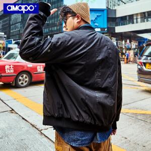 【限时抢购到手价:219元】AMAPO潮牌大码男装加肥加大潮胖子秋装肥佬夹克外套宽松嘻哈棉服