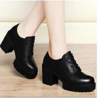 古奇天伦新款春季粗跟单鞋防水台黑色皮鞋工作鞋高跟鞋女春鞋WH81400