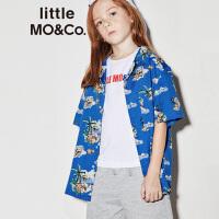 【折后价:187.6】littlemoco夏季新品男童衬衫短袖翻驳领稚趣数字印花男童衬衣
