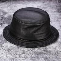 中老年渔夫帽真皮帽子男秋冬季羊皮盆帽钓鱼帽皮帽子女士真皮礼帽