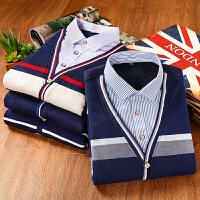 秋冬男士加绒加厚保暖衬衫商务休闲假两件衬衫男士大码针织衫毛衣