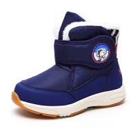 史努比童鞋雪地靴男童棉鞋加绒短靴冬季新款保暖宝宝雪地棉靴