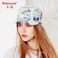 kenmont帽子平顶帽女韩版潮夏天户外防晒印花鸭舌帽棒球帽军帽3207