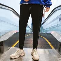 男士纯棉运动裤男士宽松小脚长裤卫裤休闲裤男织带跑步裤子潮