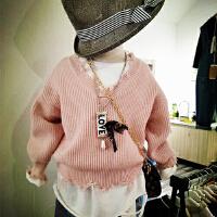 女童毛衣2018春季新款韩版中小童个性下摆收口V领毛衣针织衫 潮