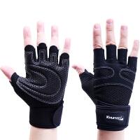 健身手套男士女士器械运动手套 硅胶防滑 加长护腕引体向上