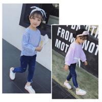 女童上衣2018春装新款中小童甜美可爱长袖蝴蝶结系带条纹衬衫潮