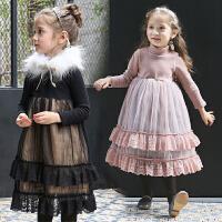 童装冬季款韩版女童加绒长袖连衣裙蕾丝网纱公主礼服裙加厚高领子
