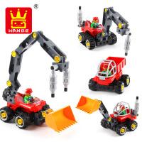 万格百变工程挖土机积木拼装大颗粒益智积木拼插男孩女孩儿童玩具