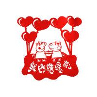 婚房装饰喜字结婚大门门贴喜字贴纸结婚用品装饰结婚喜字喜字结婚 XP014 宽80*75.5 CM