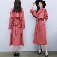 秋季新款韩版时尚气质女装外套中长款休闲宽松收腰显瘦风衣女