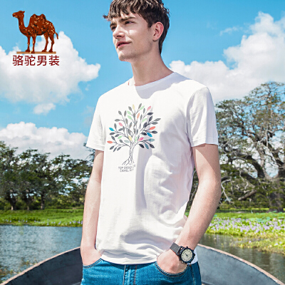 骆驼男装 2018年夏季新款圆领纯色T恤 青年休闲变色印花短袖上衣