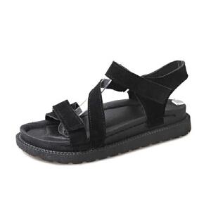 ELEISE美国艾蕾莎新品156-087韩版磨砂绒面平跟女士凉鞋