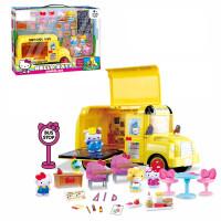 仿真过家家儿童KT猫凯蒂猫玩具车飞机大客机餐车女孩 黄色 KT校车套装
