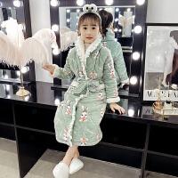 �和�浴袍珊瑚�q女童睡袍三��A棉印花法�m�q秋冬季����睡衣