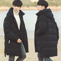新款冬季韩版宽松羽绒服男中长款修身外套学生青少年潮流帅气 黑色送毛衣 M
