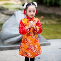 秋冬新款女童旗袍加棉儿童唐装女中式演出礼服表演服新年服 黄色