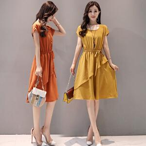 冰丝连衣裙女2018夏新款韩版女装短袖时尚中长款收腰显瘦裙子