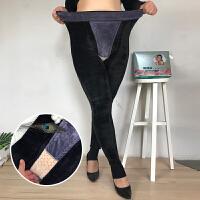 胖妹妹高腰弹力打底裤冬季2017新款女 加绒加厚黑色修身一体裤潮