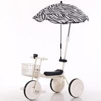 儿童三轮车宝宝脚踏车-3岁幼童自行车推杆手推童车小孩车子 白车+框(推杆款)+ 条纹伞+礼品
