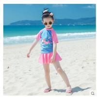 儿童游泳衣可爱舒适泉男童防晒中大童泳装分体裙式女童韩版时尚温