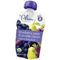 plum/谷百 二段蓝莓紫胡萝卜香梨混合果蔬泥113g 宝宝辅食