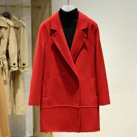 双面呢大衣女中长款冬装新款 韩版西装领纯色休闲毛呢外套